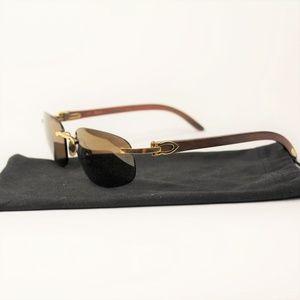 Vintage 90's Cartier 135b Sunglasses Wooden Frames